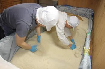 盛るため麹を砕く作業、白味噌(西京味噌)の作り方、手順